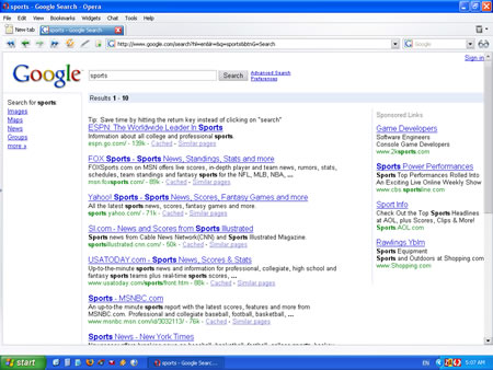 Google Search Results Page - Top
